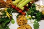 Jenga di verdure estive_ bon bon di avocado, olive taggiasche, pomodori secchi, mandorle tostate pralinati ai cereali croccanti_ crostini di pane integrale con feta, rucola e mango
