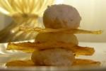 millefoglie di polenta croccante con zola, ricotta e scorza di limone